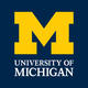 UM logo blue background and yellow font